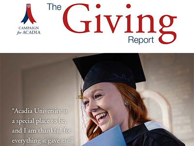 The cover of the an award-winning Giving Report publication, featuring a smiling female student at Convocation.