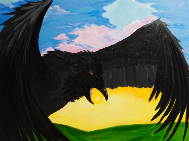 """The Raven into Dawn"" (working title), acrylic on gallery canvas by Lena Gallant"
