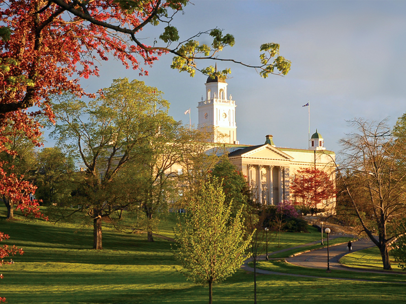Acadia University's iconic University Hall in the evening light.