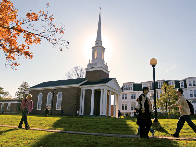 The Manning Memorial Chapel glows in the morning light.