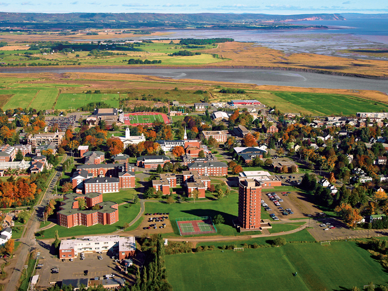 An aerial photo of the Acadia University campus.