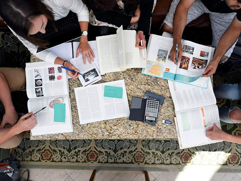 A group of students work together with textbooks and a calculator